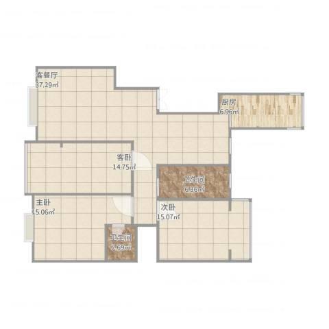 滨河花园3室1厅2卫1厨141.00㎡户型图