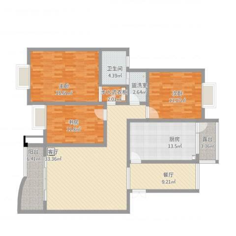 缙云小区3室3厅1卫1厨171.00㎡户型图