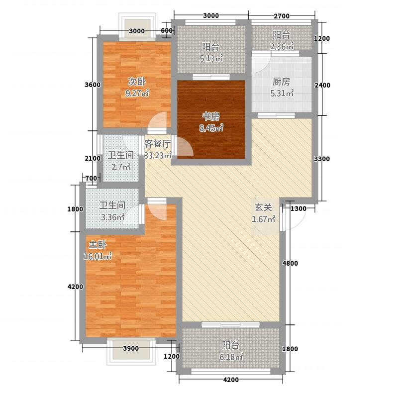 格林威治庄园3111.20㎡C型户型3室2厅3卫1厨