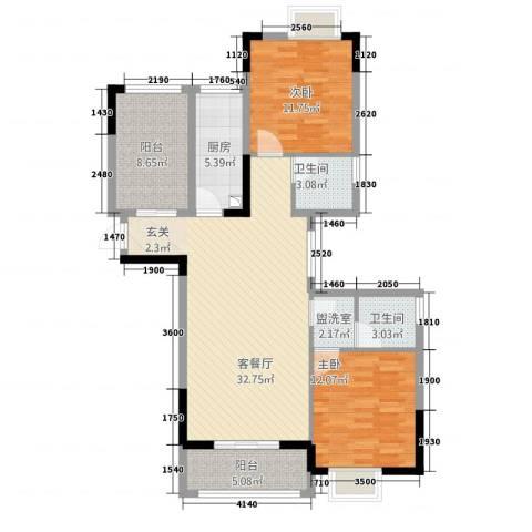 山水华庭2室2厅2卫1厨83.96㎡户型图
