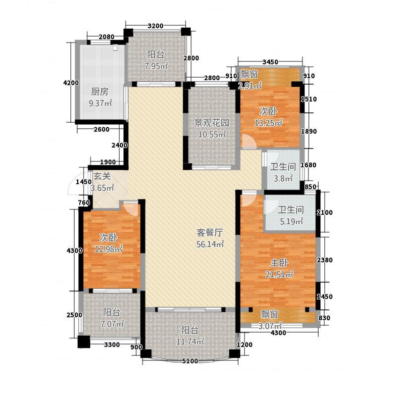 邦盛凤凰城181.23㎡J户型3室2厅2卫1厨