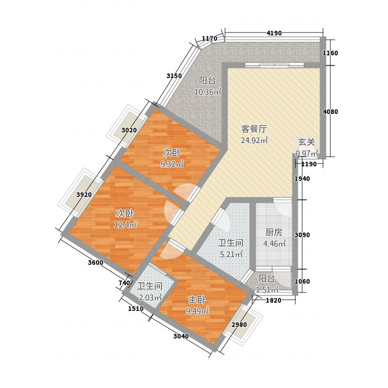东方名苑F1户型3室2厅2卫1厨