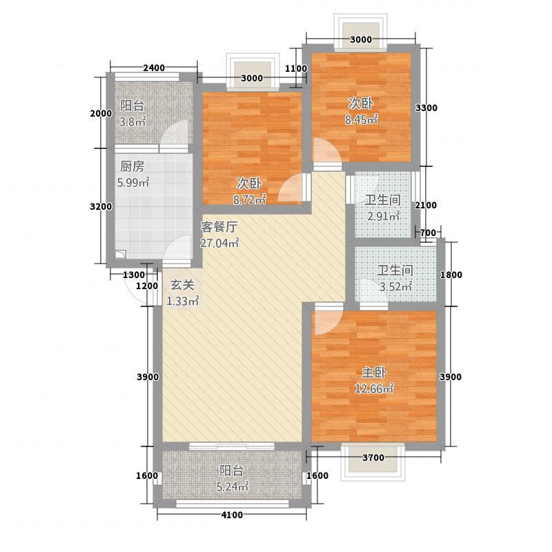 格林威治庄园37.20㎡B型户型3室2厅2卫1厨