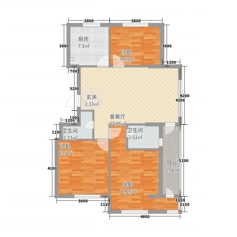 双水湾11.40㎡D-4户型2室2厅1卫1厨