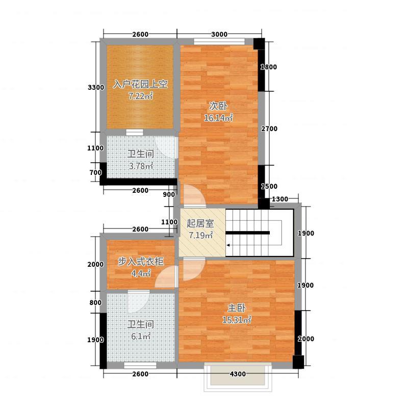 枫林溪谷138.00㎡B-10上层平面图户型3室2厅3卫