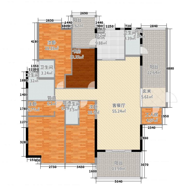 双水湾236.27㎡2单元01户型5室2厅4卫1厨