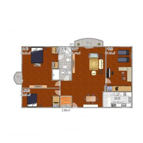 中山南苑3室2厅1卫1厨215.00㎡户型图