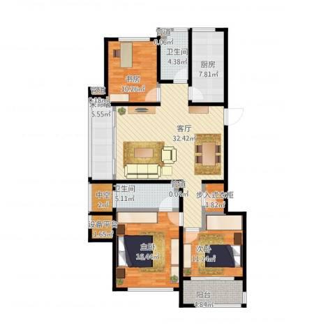翠屏诚园3室1厅2卫1厨149.00㎡户型图
