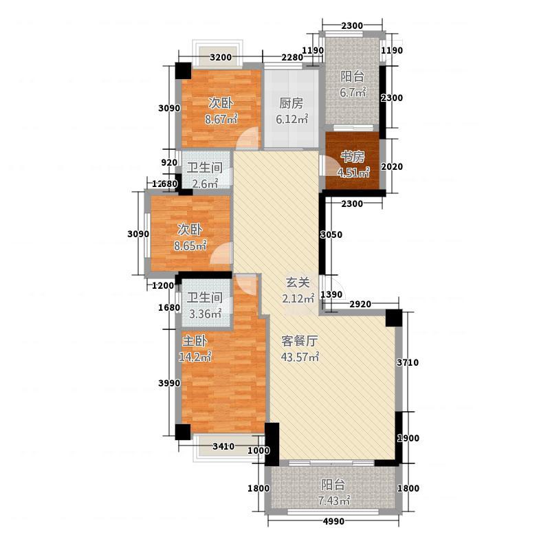 国际商品城三期尚东一品北区8栋04单元、12栋04单元户型4室2厅2卫1厨