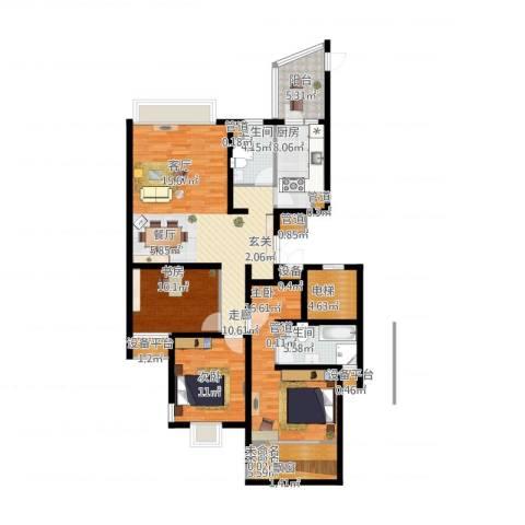 绍兴天下3室1厅2卫1厨157.00㎡户型图