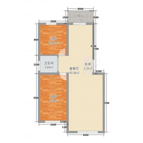 沿江国际2室1厅1卫0厨77.78㎡户型图