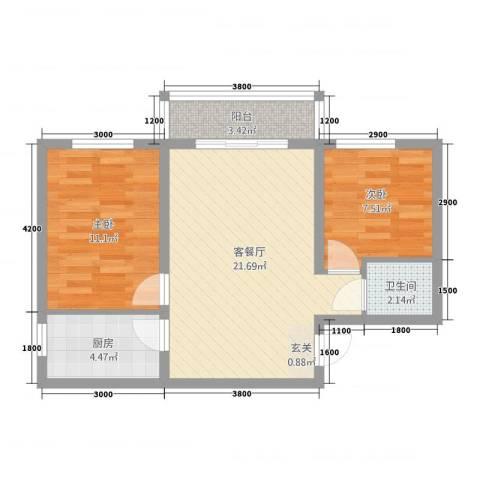 隆城国际三期2室1厅1卫1厨75.00㎡户型图