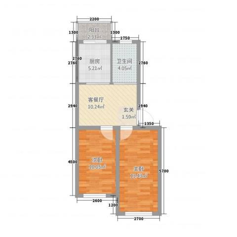 沿江国际2室1厅1卫1厨73.00㎡户型图