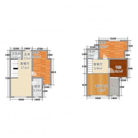 沿江国际3室2厅2卫1厨107.33㎡户型图