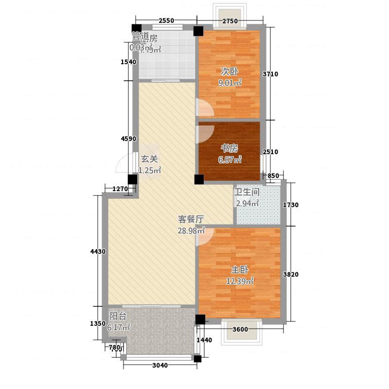 学府名门7.80㎡一期K户型3室2厅1卫1厨