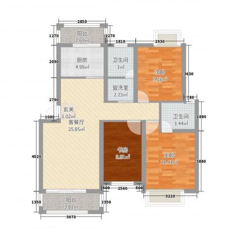盛世嘉苑二期荷塘月舍3室2厅2卫1厨110.00㎡户型图