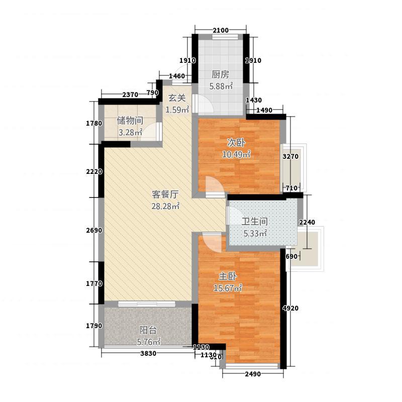 亨星锦绣城11.81㎡6户型2室2厅1卫1厨