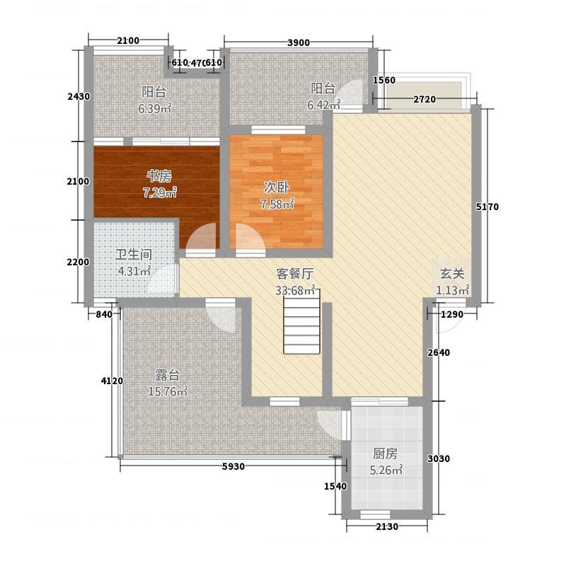 滨江又一城125.72㎡D-1户型3室2厅2卫1厨