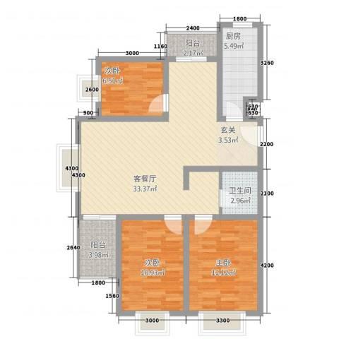 春城国际3室1厅1卫1厨15312.00㎡户型图