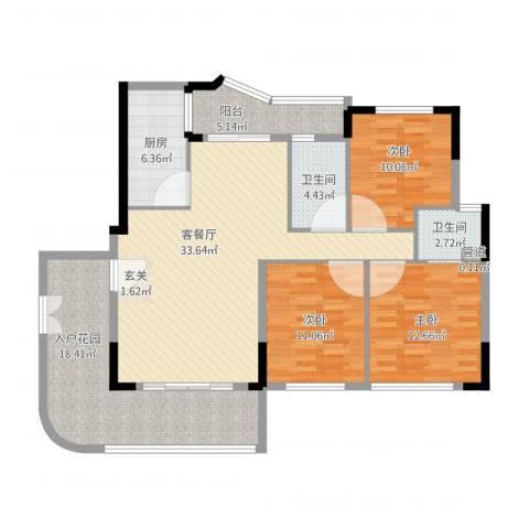 岭南公馆3室1厅3卫1厨148.00㎡户型图