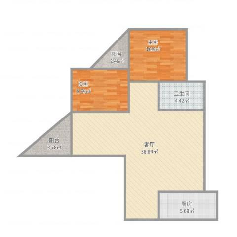 雍和花园2室1厅1卫1厨101.00㎡户型图