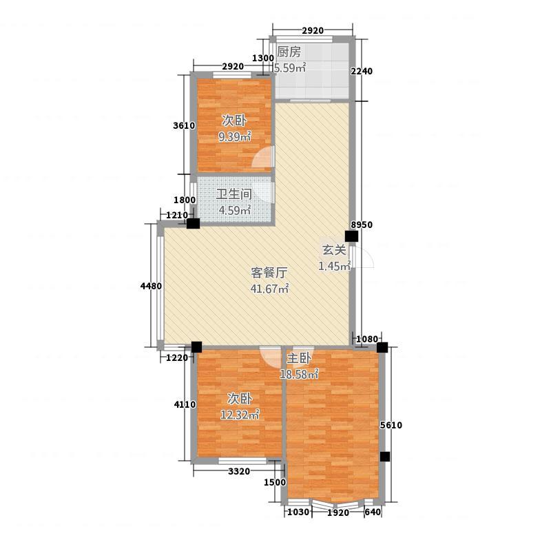 麒麟公馆121.37㎡户型3室2厅1卫1厨