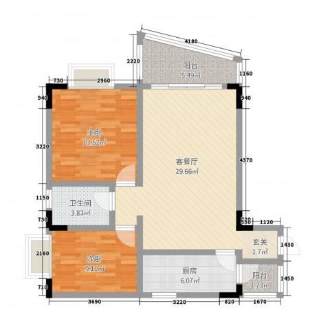 星河名居2室1厅1卫1厨101.00㎡户型图