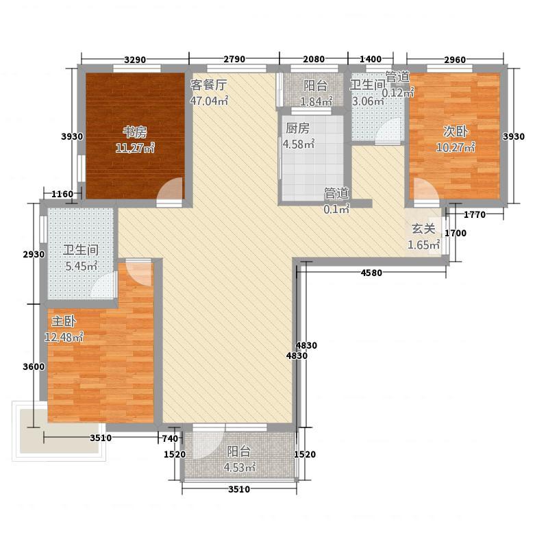 水云间A1-1(1、2#)户型3室2厅2卫1厨
