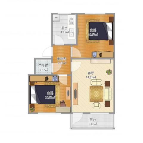 毕家洼小区2室1厅1卫1厨67.00㎡户型图