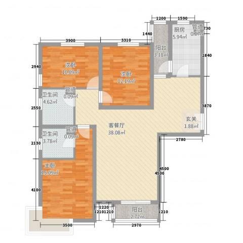 水云间3室1厅2卫1厨138.00㎡户型图