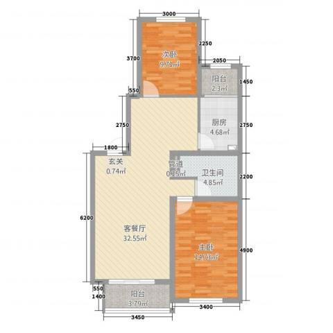 森驰金色河畔2室1厅1卫1厨72.76㎡户型图