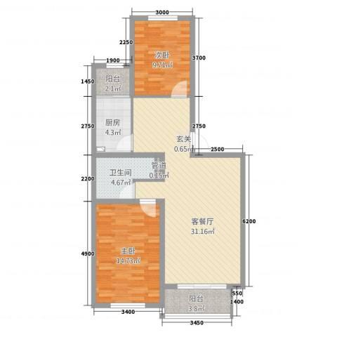 森驰金色河畔2室1厅1卫1厨70.62㎡户型图