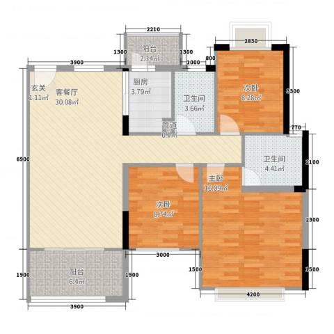 南城鸿福花园3室1厅2卫1厨117.00㎡户型图