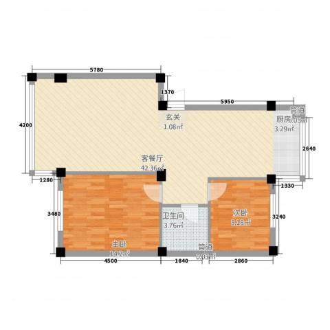 鼎泽・壹品高升2室1厅1卫0厨95.00㎡户型图