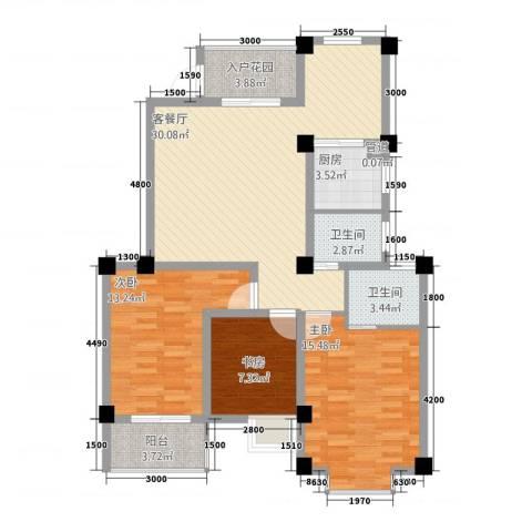 金晖花园3室1厅2卫1厨146.00㎡户型图