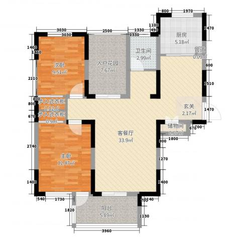 君临华庭2室1厅1卫1厨113.00㎡户型图