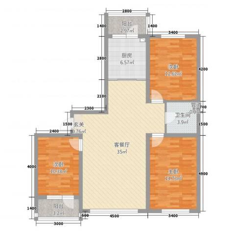 森驰金色河畔3室1厅1卫1厨118.00㎡户型图