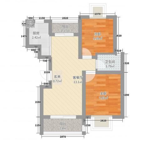 明发商业广场公寓2室1厅1卫1厨51.00㎡户型图