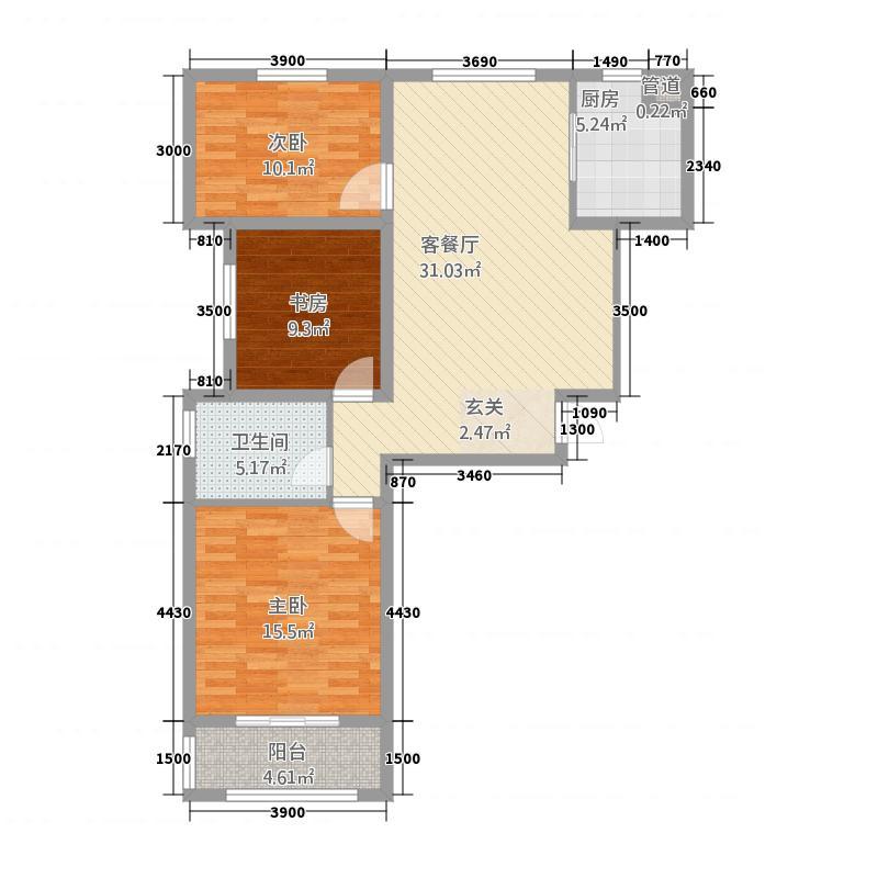 美星花园A隐贵之家户型3室2厅1卫1厨