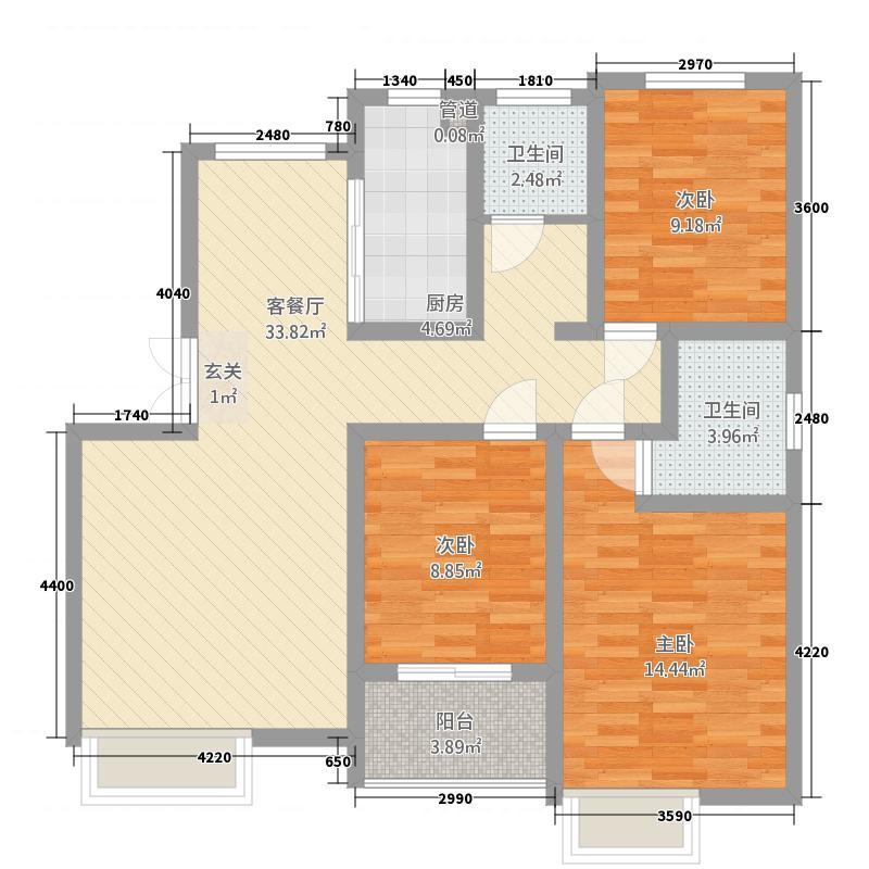 炫特区118.63㎡D户型3室2厅2卫1厨
