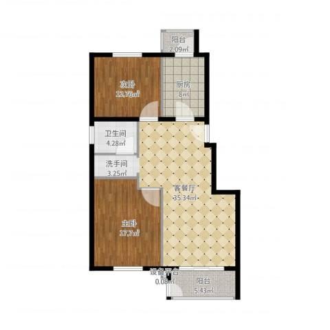 中南湾2室1厅1卫1厨120.00㎡户型图