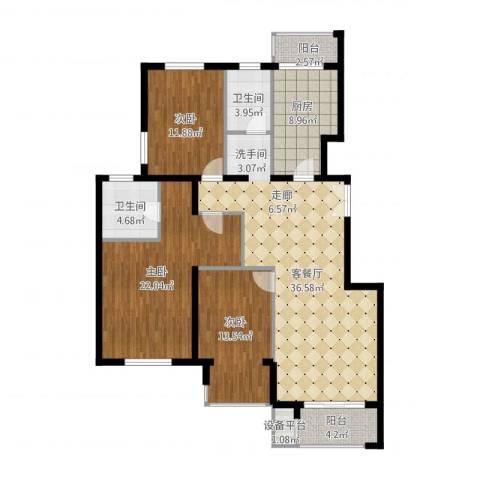 中南湾3室1厅2卫1厨154.00㎡户型图