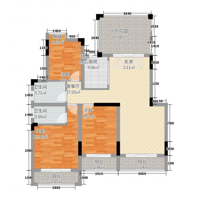 汇景香颂12.00㎡户型3室2厅2卫1厨