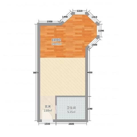 明发商业广场公寓1卫0厨51.00㎡户型图
