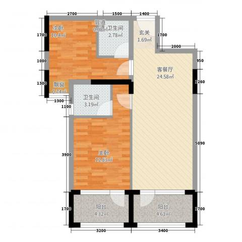 凯逸黄金海岸2室1厅2卫0厨86.00㎡户型图