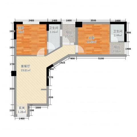 凯逸黄金海岸2室1厅2卫0厨71.00㎡户型图