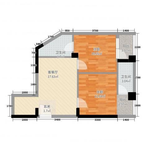 凯逸黄金海岸2室1厅2卫0厨49.12㎡户型图