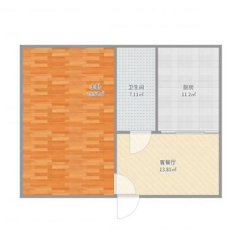 泰山花苑1室1厅1卫1厨82.00㎡户型图