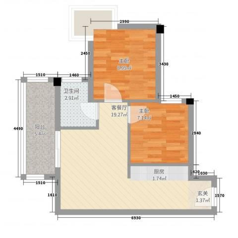 鼎湖时代2室1厅1卫0厨65.00㎡户型图