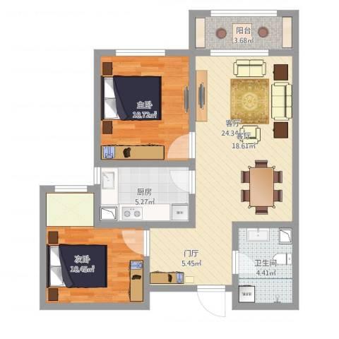 诗景颂苑2室1厅1卫1厨86.00㎡户型图